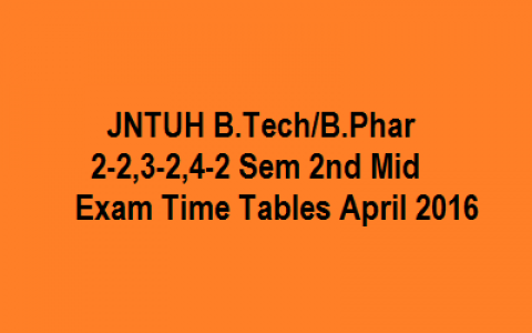 JNTU Hyd B.Tech/B.Pharmacy 2-2, 3-2, & 4-2 Sem 2nd Mid Exam Time Tables April 2016